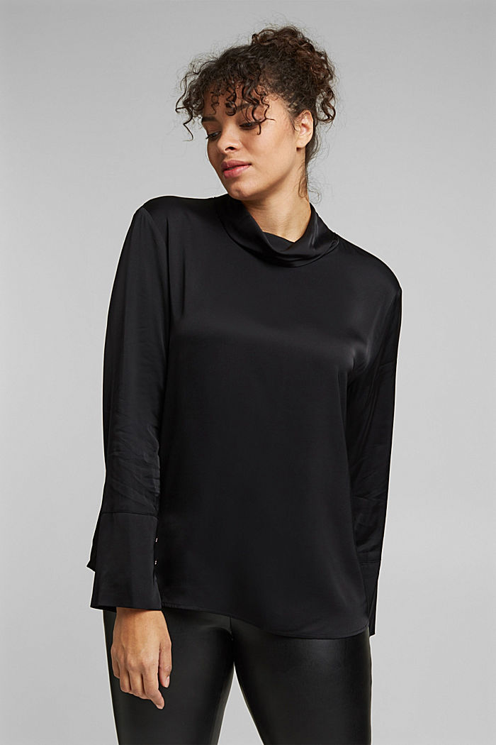Satin blouse made of LENZING™ ECOVERO™, BLACK, detail image number 0