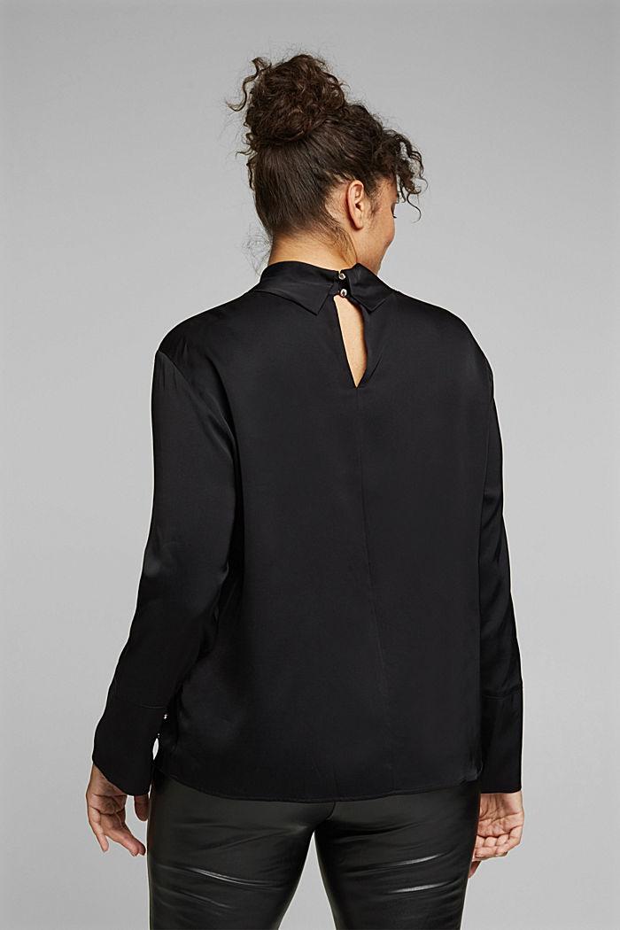 Satin blouse made of LENZING™ ECOVERO™, BLACK, detail image number 3