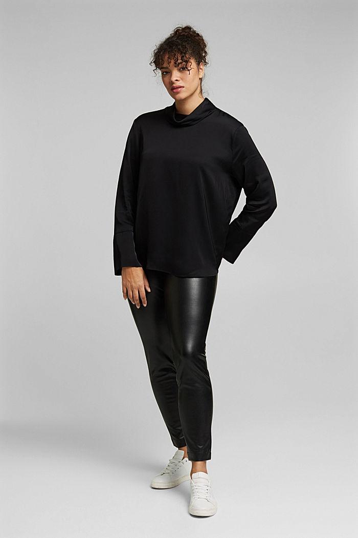 Satin blouse made of LENZING™ ECOVERO™, BLACK, detail image number 1
