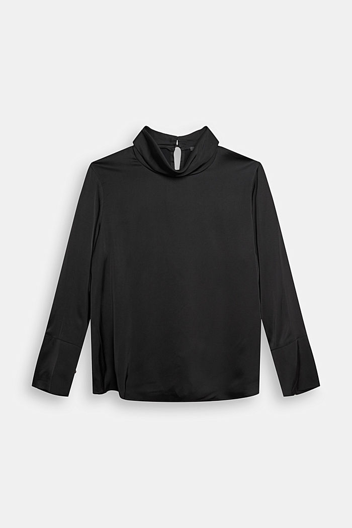 Satin blouse made of LENZING™ ECOVERO™, BLACK, detail image number 6