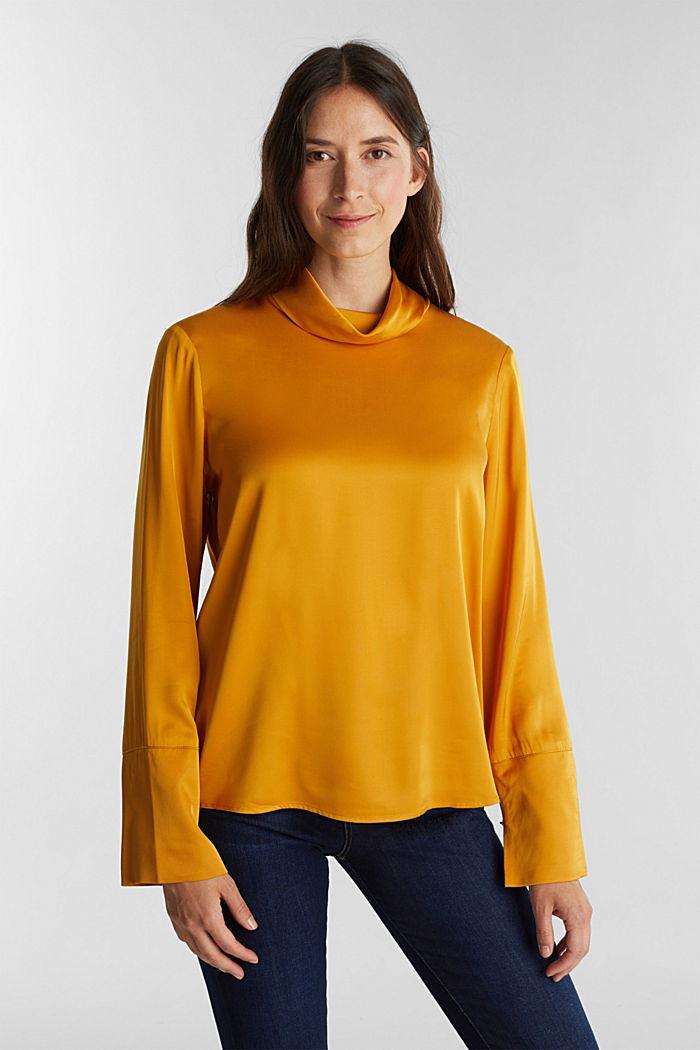 Satin-Bluse aus  LENZING™ ECOVERO™, HONEY YELLOW, detail image number 0