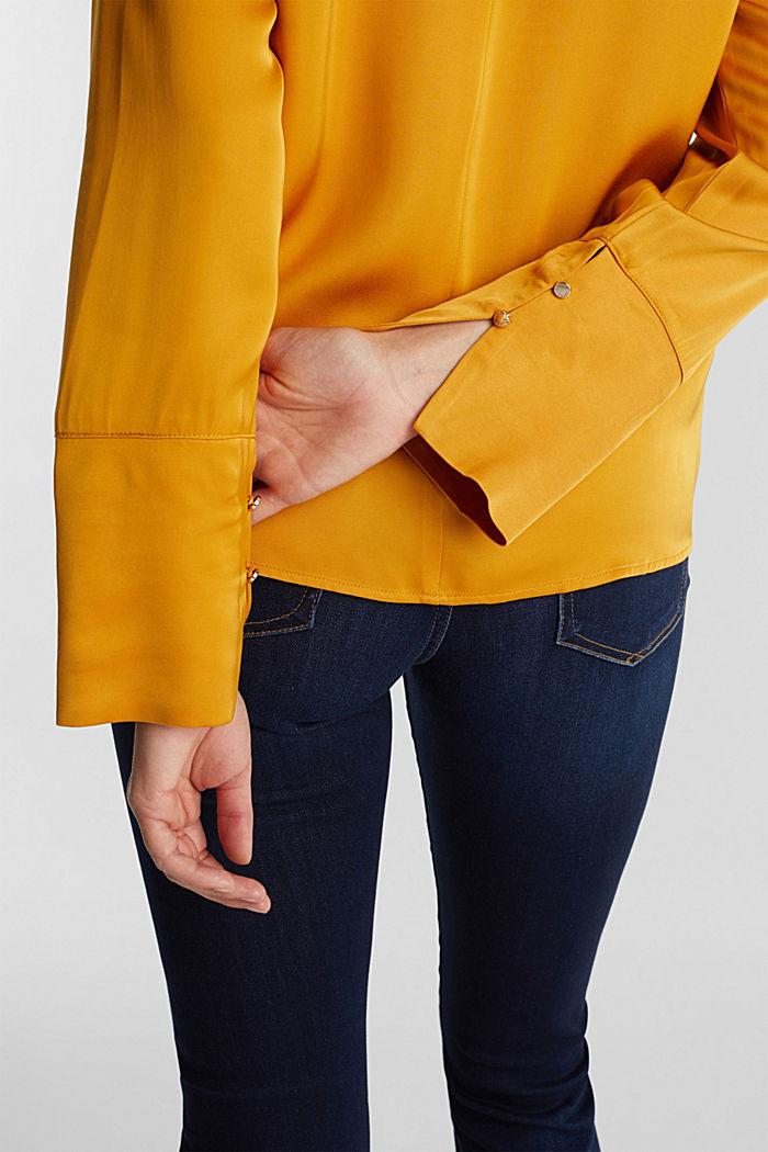 Satin-Bluse aus  LENZING™ ECOVERO™, HONEY YELLOW, detail image number 5