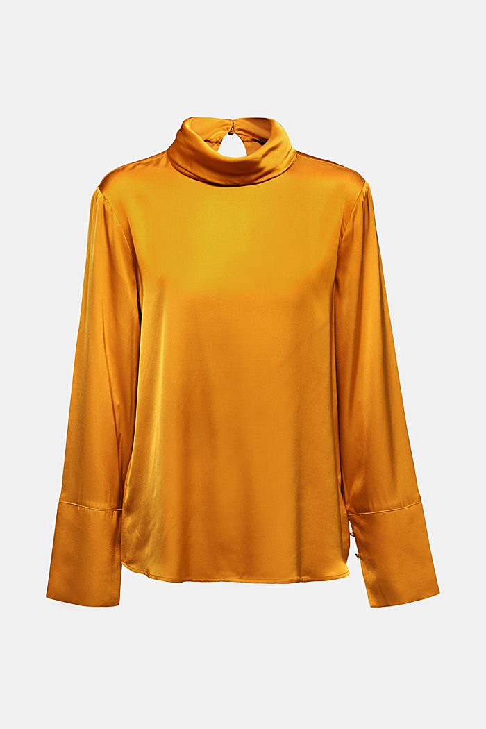Satin blouse made of LENZING™ ECOVERO™, HONEY YELLOW, detail image number 7