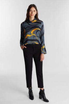 Satin blouse with a draped collar, GUNMETAL 4, detail