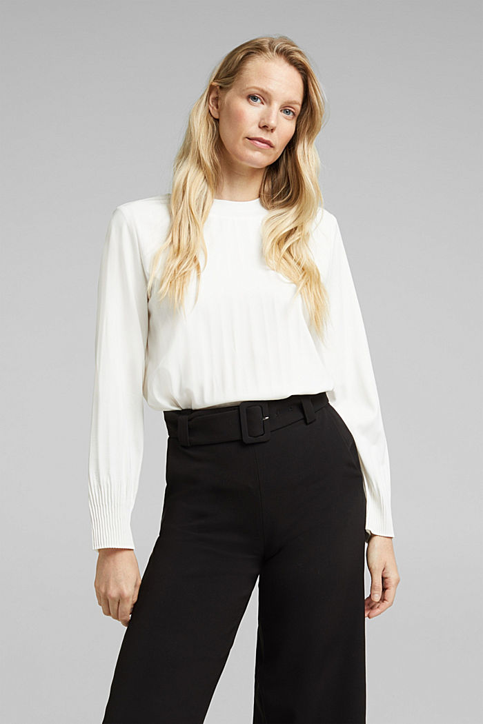RECYCLED: modern blouse with pleats, OFF WHITE, detail image number 0