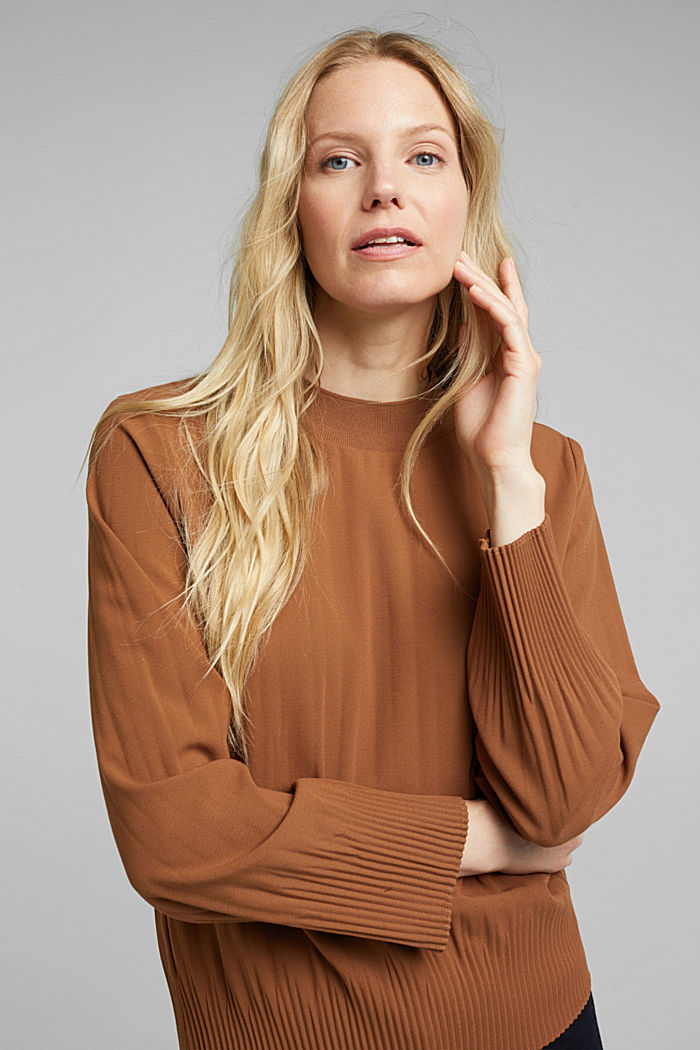 RECYCLED: modern blouse with pleats, TOFFEE, detail image number 0