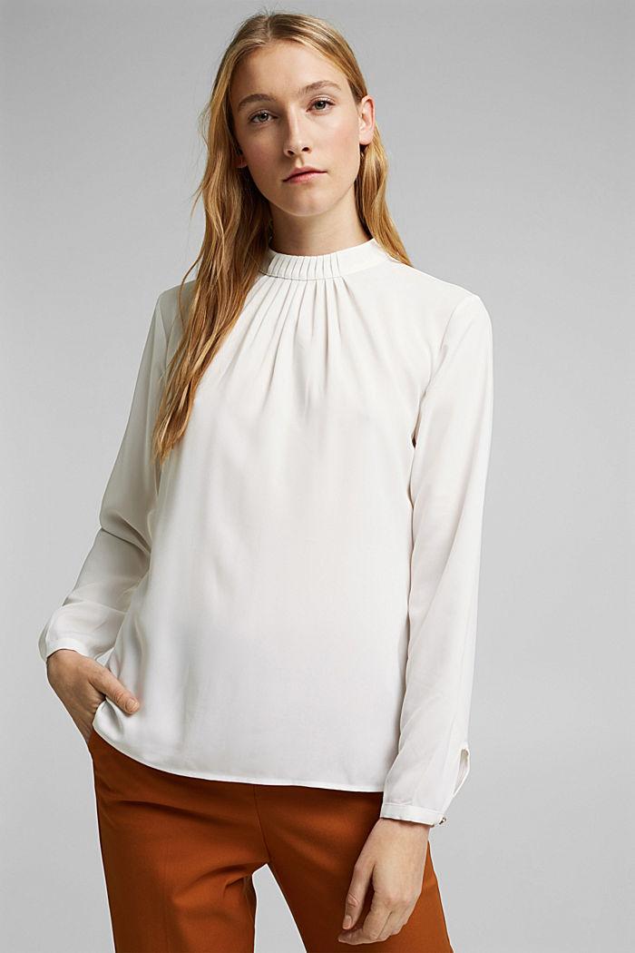 Reciclada: blusa con detalle de pliegues, OFF WHITE, detail image number 0