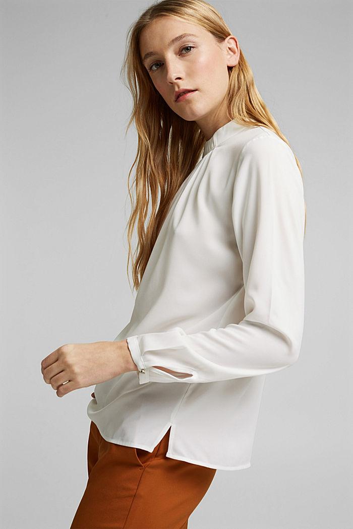 Reciclada: blusa con detalle de pliegues, OFF WHITE, detail image number 5