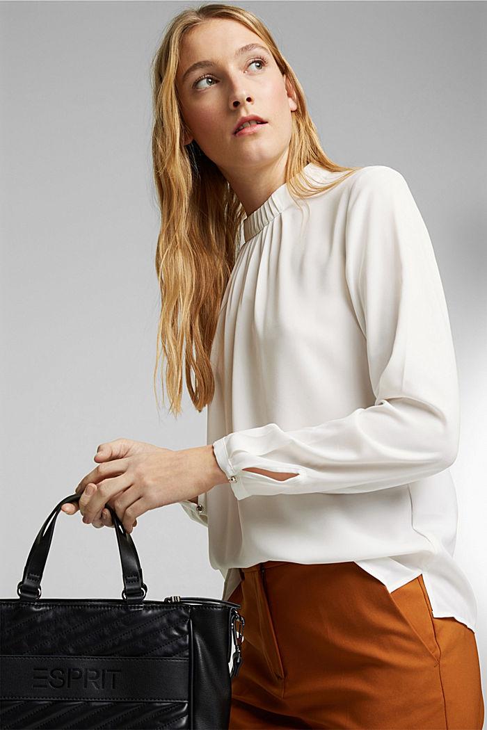 Reciclada: blusa con detalle de pliegues, OFF WHITE, detail image number 7