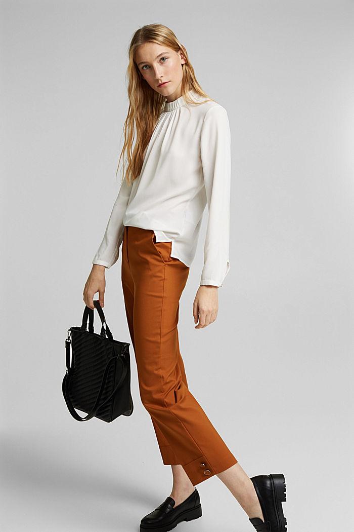 Reciclada: blusa con detalle de pliegues, OFF WHITE, detail image number 1