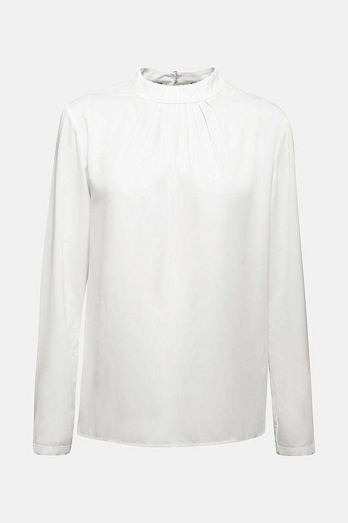 Reciclada: blusa con detalle de pliegues, OFF WHITE, detail image number 8