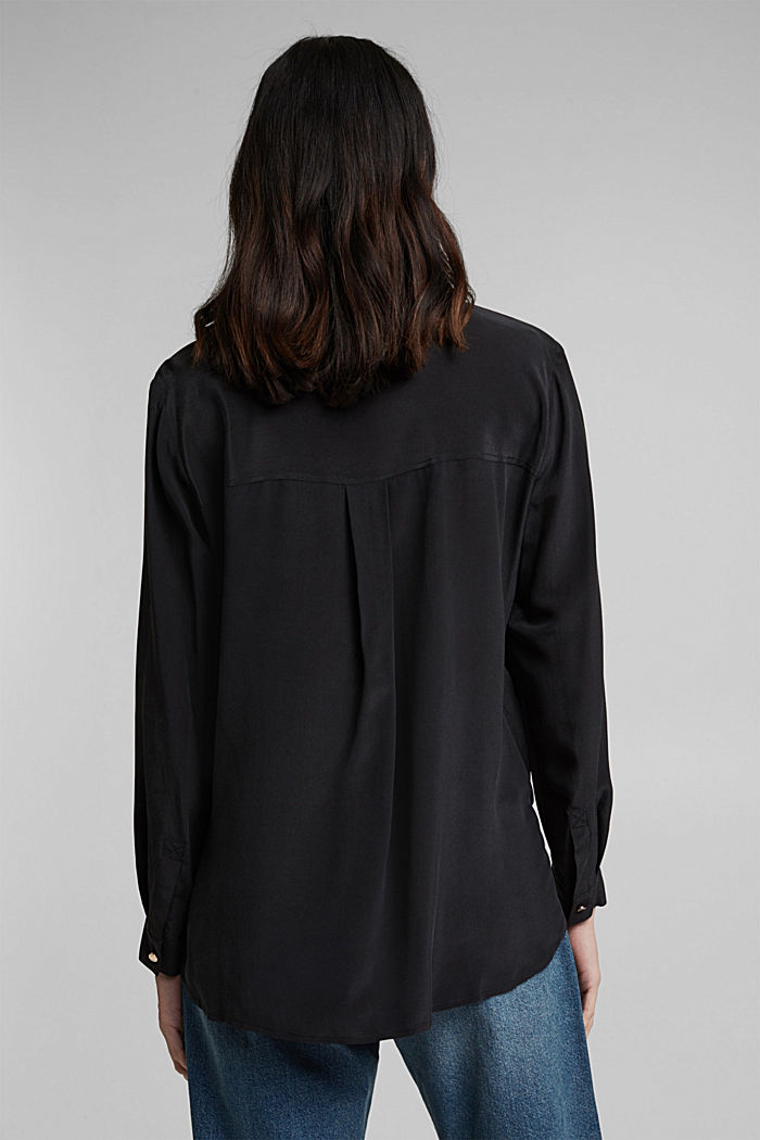 Made of blended silk: shirt-style blouse, BLACK, detail image number 3