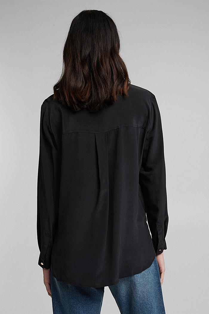 Aus Seiden-Mix: Bluse im Hemd-Stil, BLACK, detail image number 3