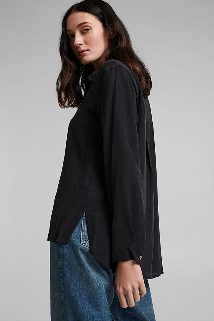 Made of blended silk: shirt-style blouse, BLACK, detail image number 4