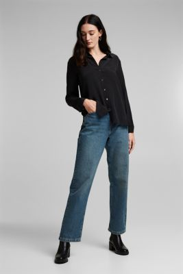 Silk blend blouse, BLACK, detail
