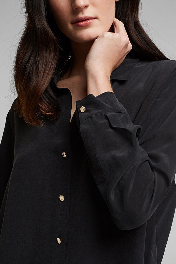 Made of blended silk: shirt-style blouse, BLACK, detail image number 2