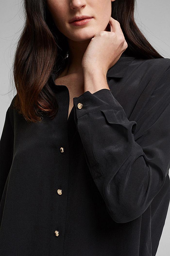 Aus Seiden-Mix: Bluse im Hemd-Stil, BLACK, detail image number 2