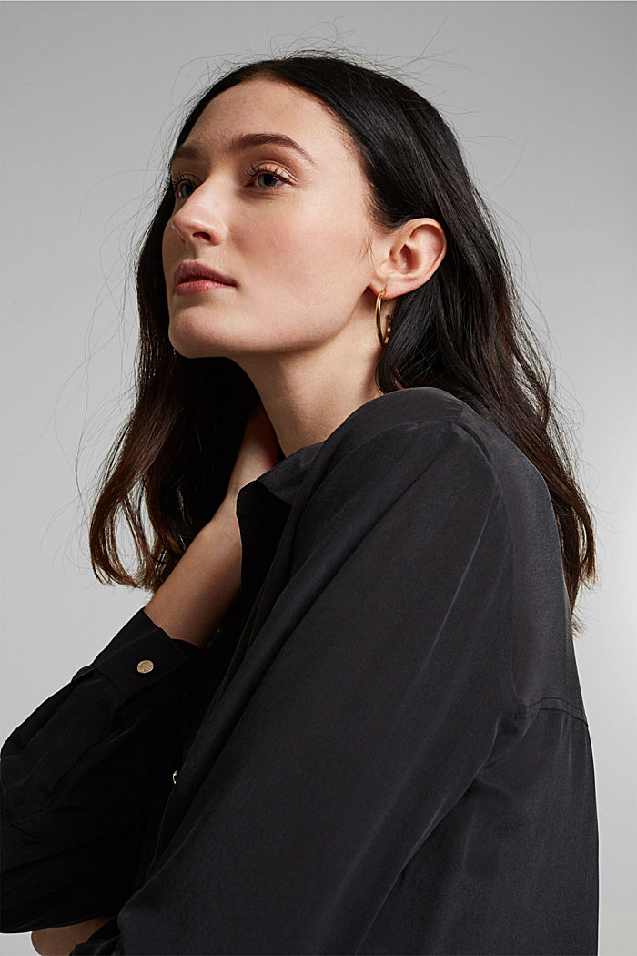 Made of blended silk: shirt-style blouse, BLACK, detail image number 5