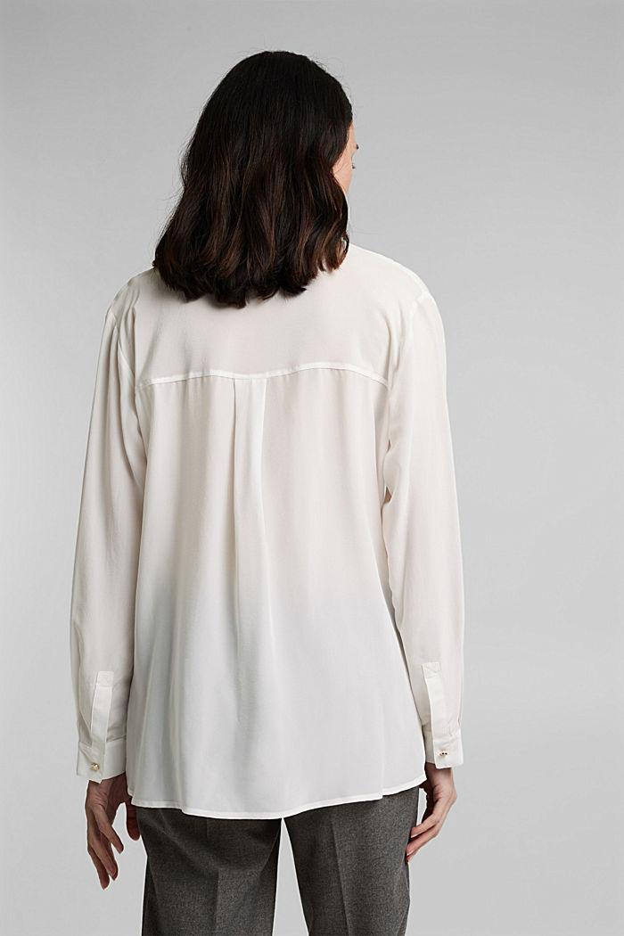 Van een zijdemix: blouse in overhemdstijl, OFF WHITE, detail image number 3
