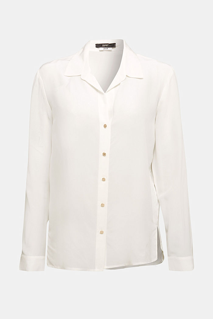 Made of blended silk: shirt-style blouse
