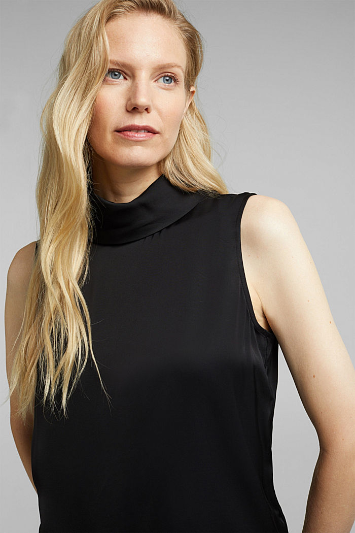 Blouse top with LENZING™ ECOVERO™, BLACK, detail image number 0