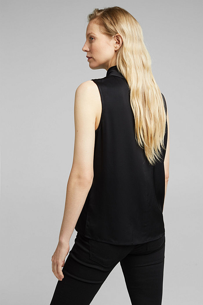 Blouse top with LENZING™ ECOVERO™, BLACK, detail image number 3