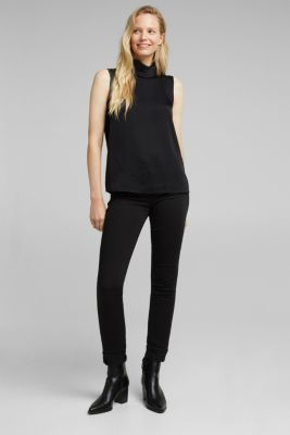 Blouse top with LENZING™ ECOVERO™, BLACK, detail