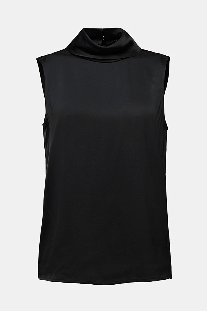 Blouse top with LENZING™ ECOVERO™, BLACK, detail image number 6