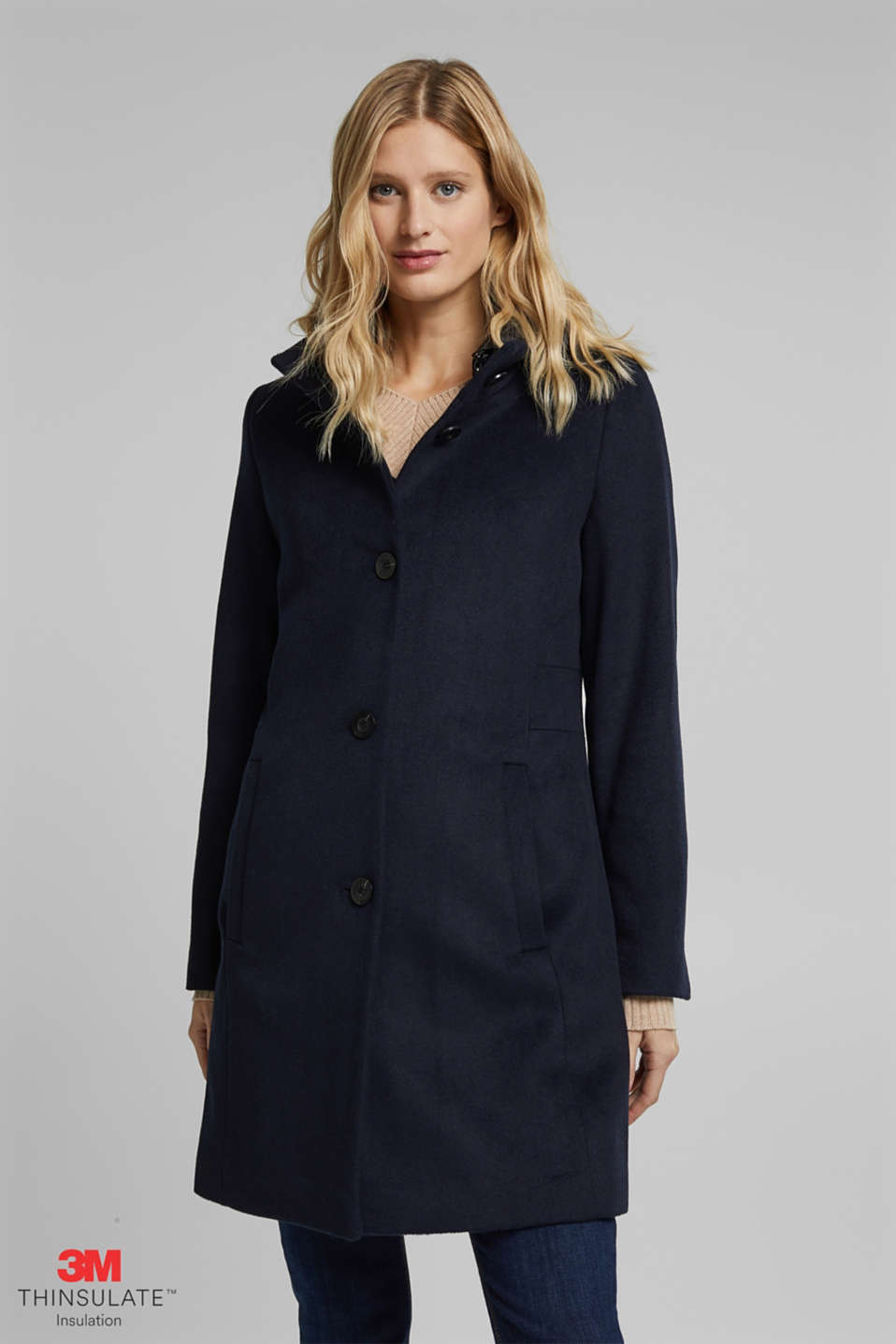 Esprit - Wool blend: coat with a quilted hood