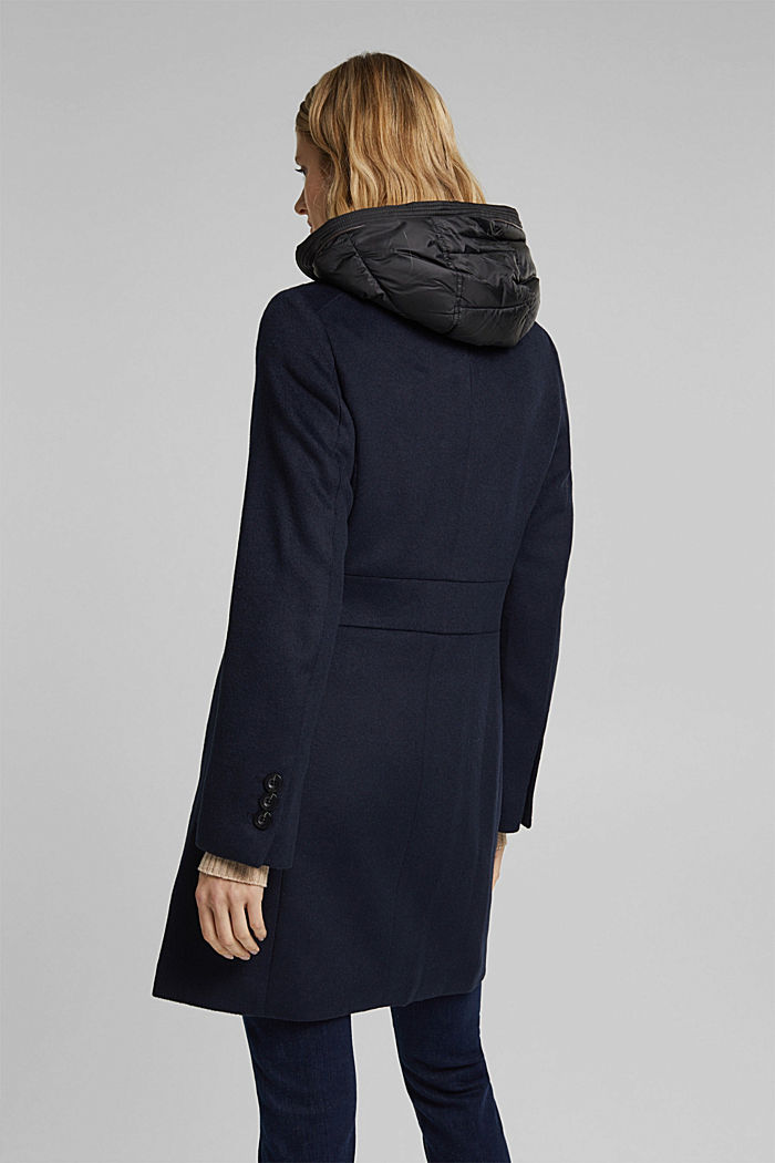 Wool blend: coat with a quilted hood, NAVY, detail image number 3