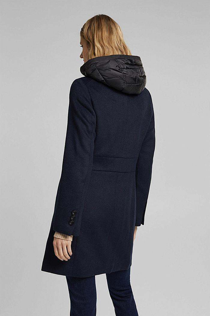 Con lana: abrigo con capucha acolchada, NAVY, detail image number 3
