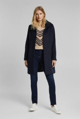 Wool blend: coat with a quilted hood, NAVY, detail