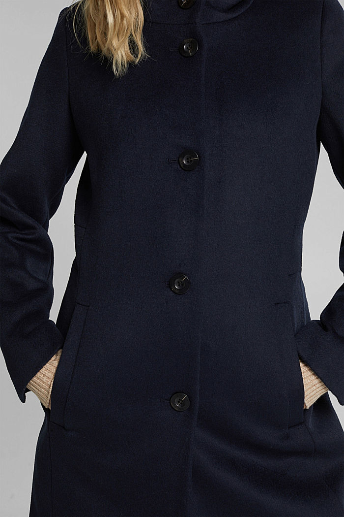 Wool blend: coat with a quilted hood, NAVY, detail image number 4