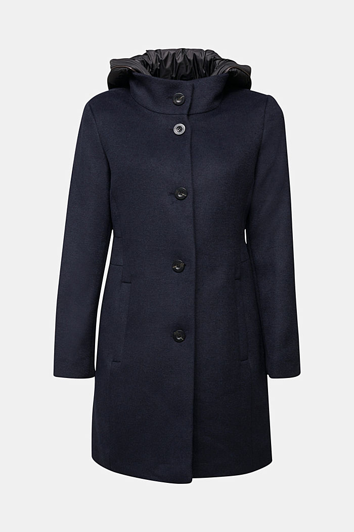 Wool blend: coat with a quilted hood