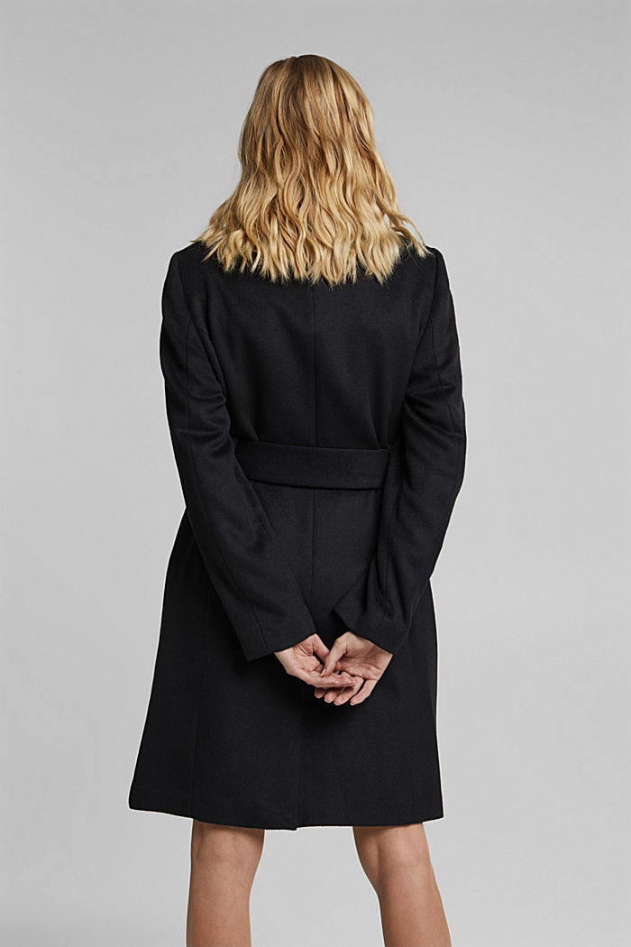 With wool: fitted coat with a belt, BLACK, detail image number 3