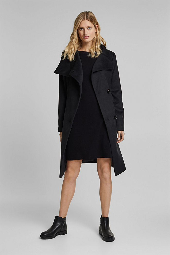 With wool: fitted coat with a belt, BLACK, detail image number 1