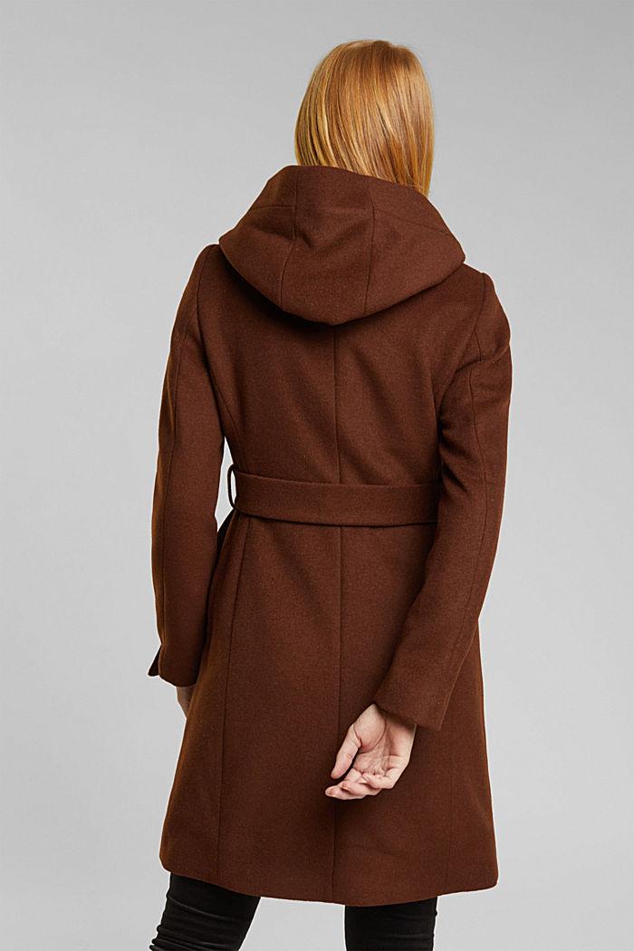 Recycled: hooded wool coat, RUST BROWN, detail image number 3