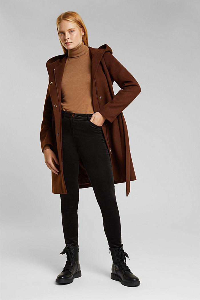 Recycled: hooded wool coat, RUST BROWN, detail image number 1