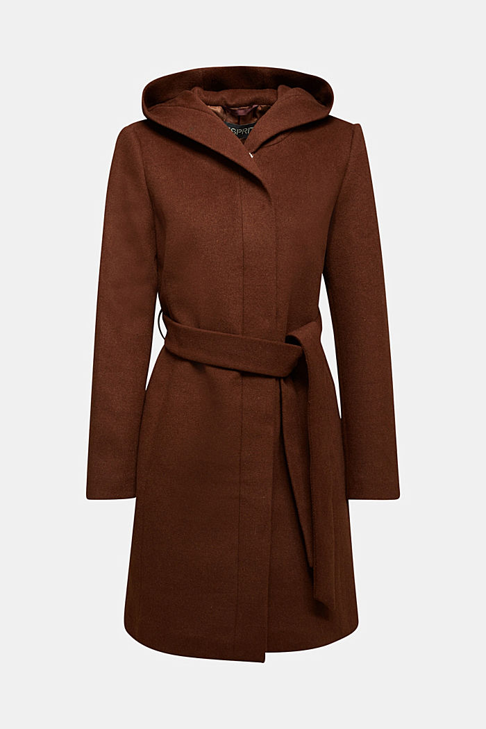 Recycled: hooded wool coat