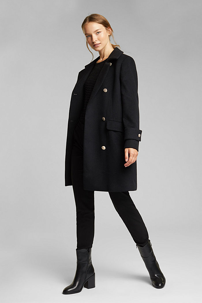 Recycled: wool coat with crested buttons, BLACK, detail image number 1