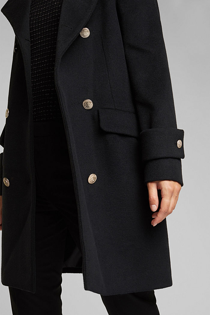 Recycled: wool coat with crested buttons, BLACK, detail image number 2