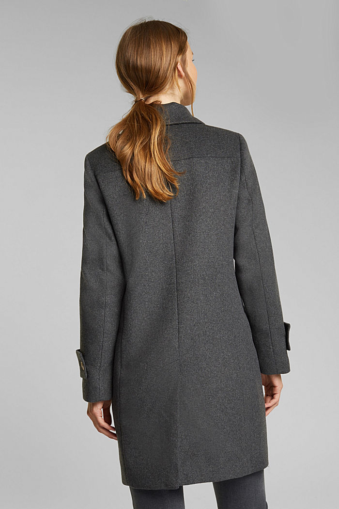 Recycled: wool coat with crested buttons, ANTHRACITE, detail image number 3