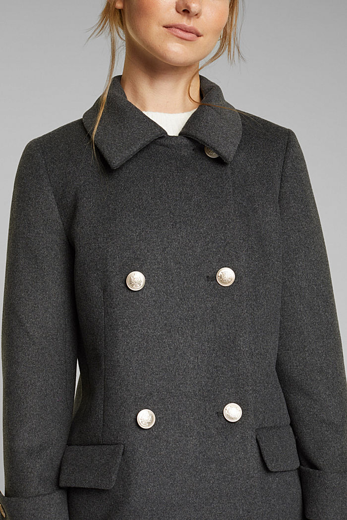 Recycled: wool coat with crested buttons, ANTHRACITE, detail image number 2