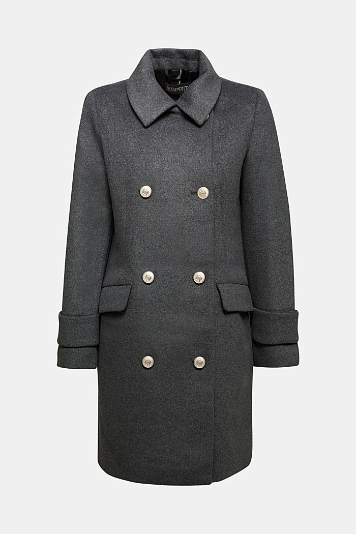 Recycled: wool coat with crested buttons