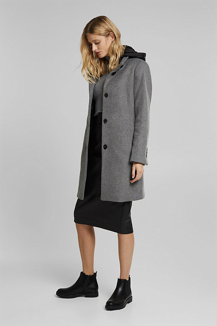 Wool blend: Coat with a hood, GUNMETAL, detail image number 0