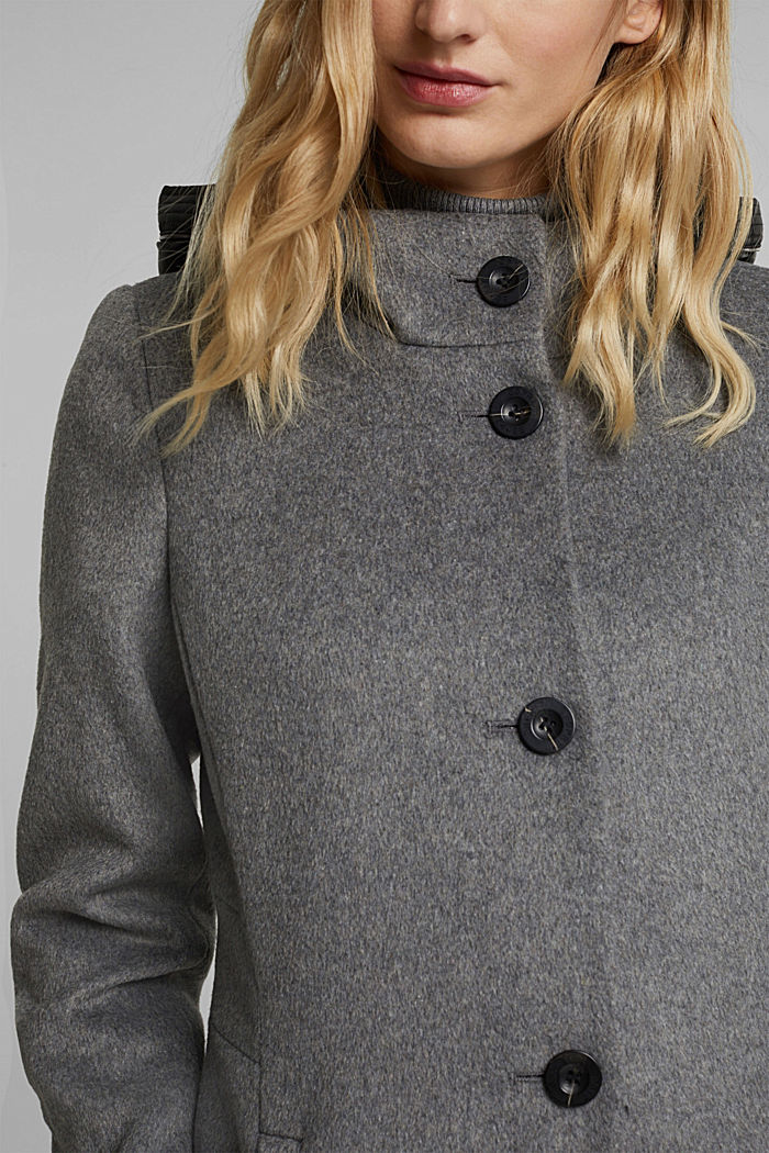 Wool blend: Coat with a hood, GUNMETAL, detail image number 1