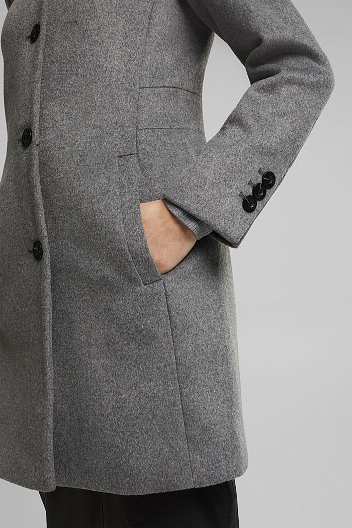 Wool blend: Coat with a hood, GUNMETAL, detail image number 2