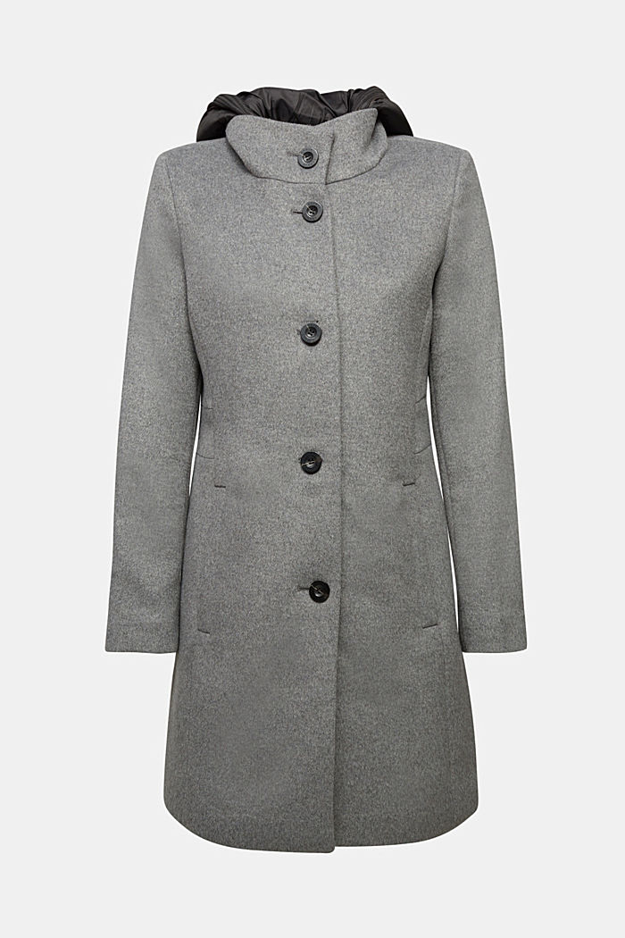 Wool blend: Coat with a hood
