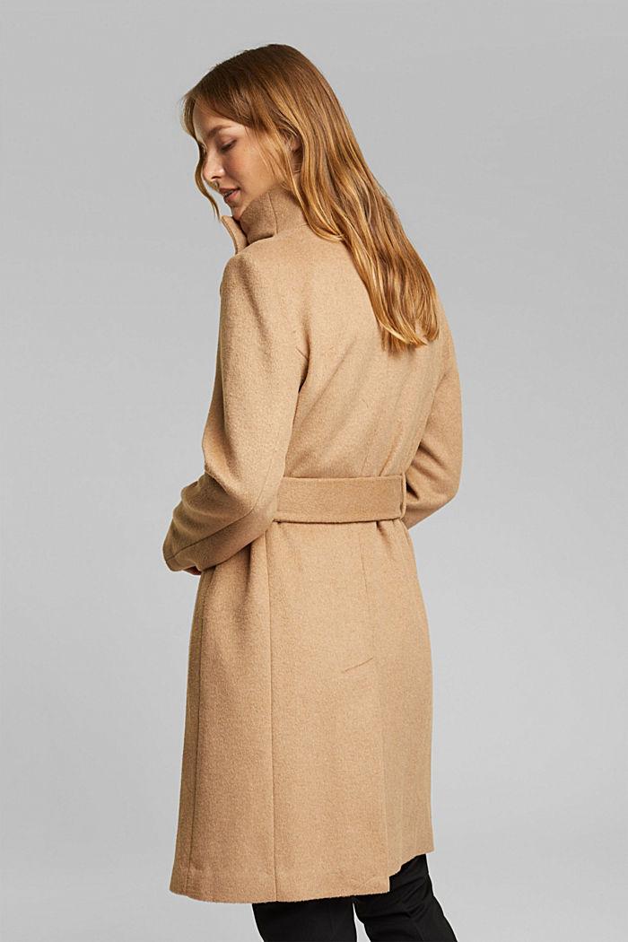 Wool blend: coat with tie-around belt, CAMEL, detail image number 3