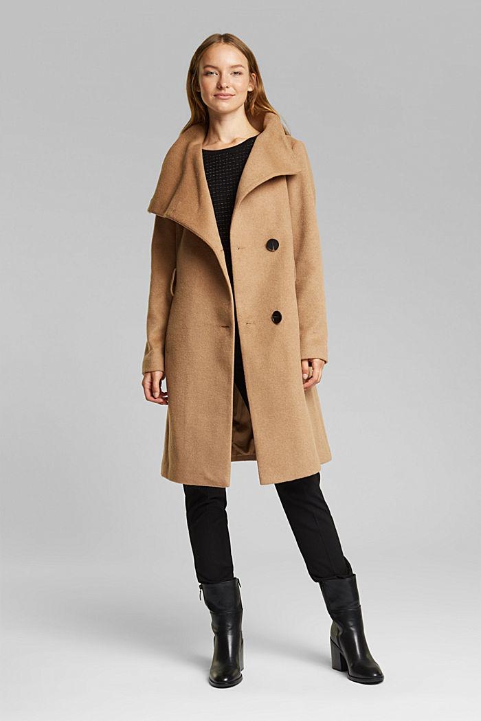 Wool blend: coat with tie-around belt, CAMEL, detail image number 1